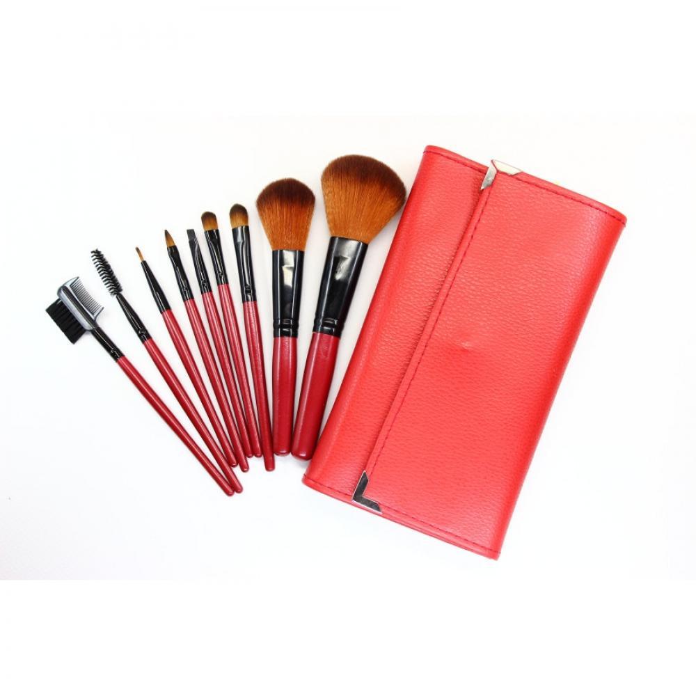 Купить Домашний набор кистей для макияжа 9 шт - Make Up Me B-9 Красный