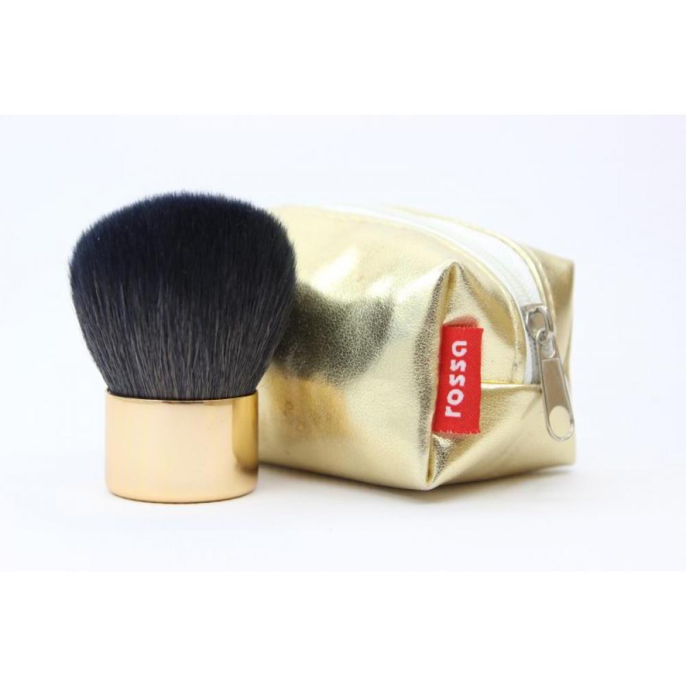 Купить Кисть кабуки натуральная в чехле - Make Up Me KAB Золотая
