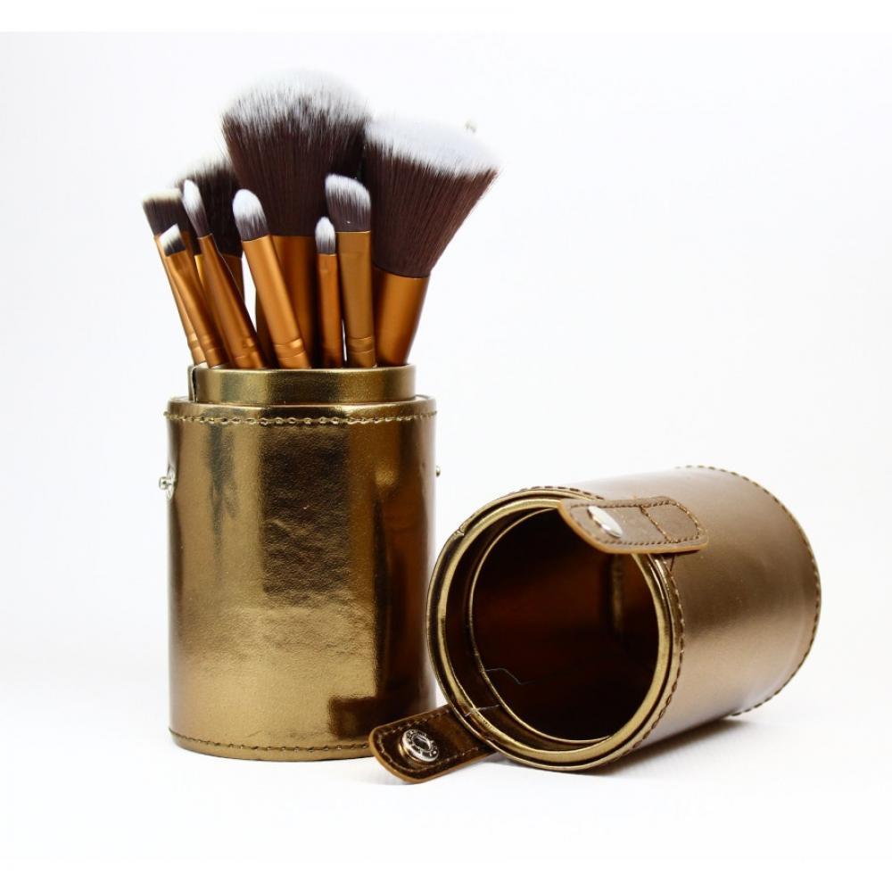 Купить Набор кисте для макияжа 12 шт - Make Up Me TUBE-12-GOLD Золотой