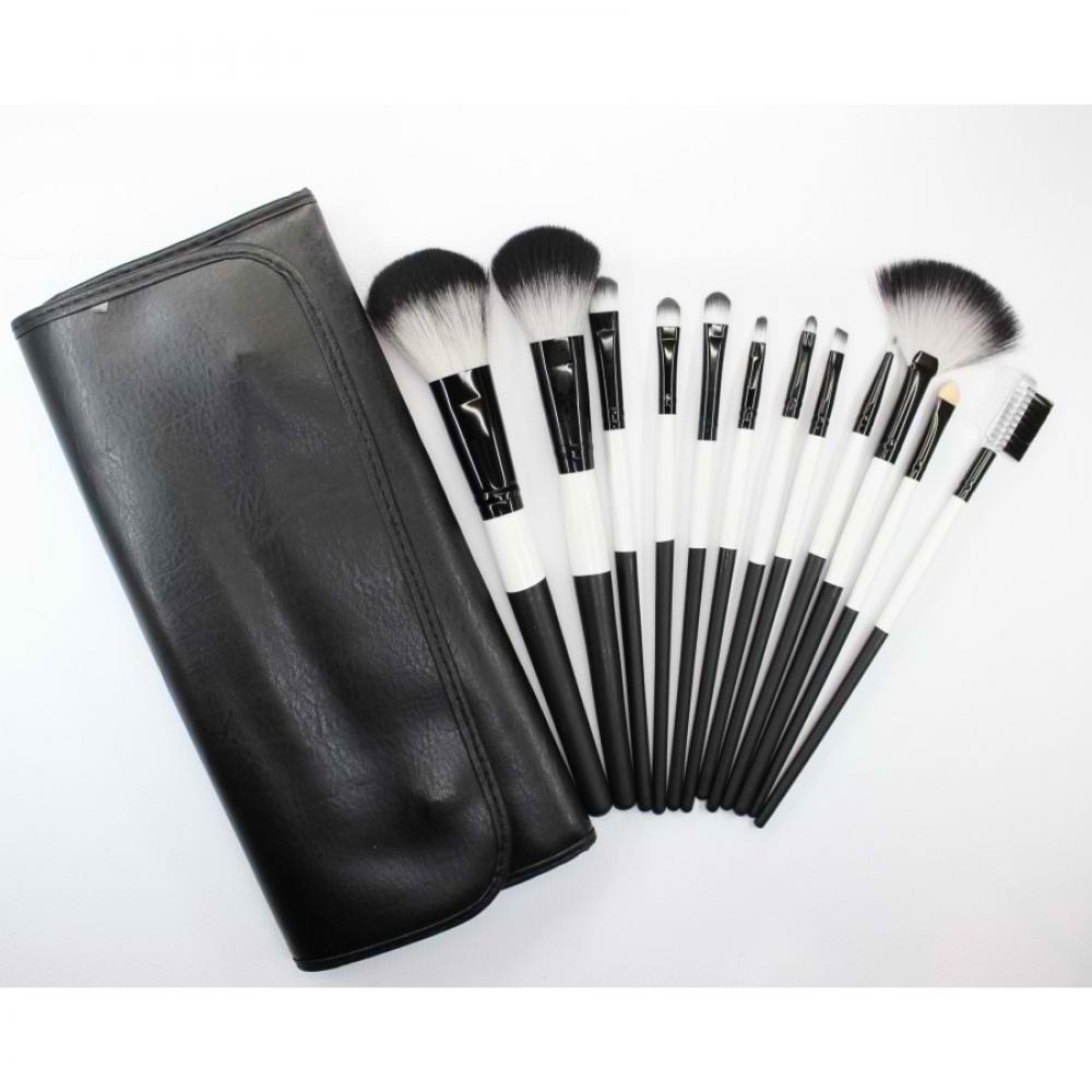 Купить Набор кистей для макияжа 12 шт - Make Up Me BW12 Черно-белый