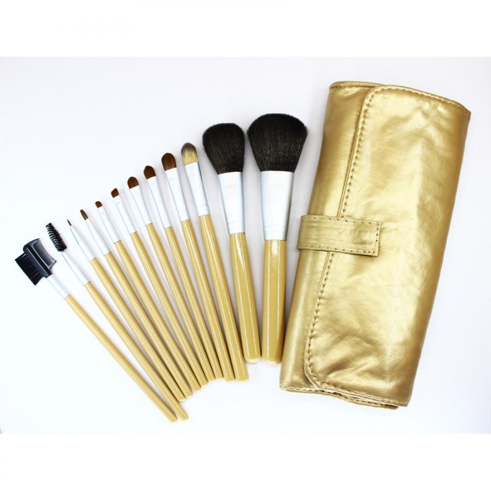 Купить Набор кистей для макияжа 12 шт - Make Up Me GOLD-12 Золотой
