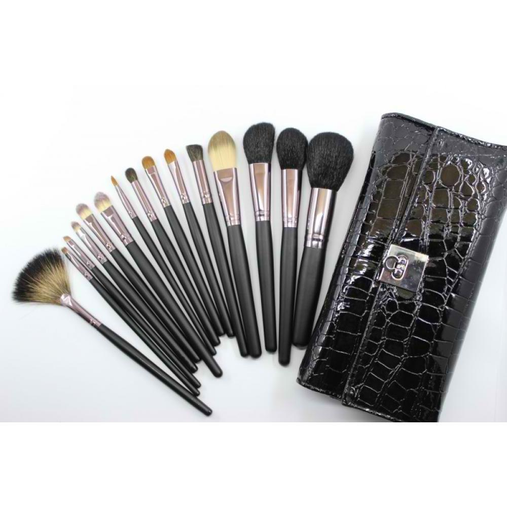 Купить Профессиональный набор кисточек для макияжа 15 шт - Make Up Me SNAKE-15 Змеиная Кожа Черный