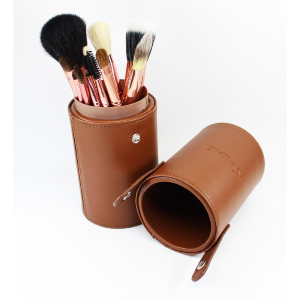 Купить Профессиональный набор кистей для макияжа 13 шт - Make Up Me TUBE-13 Коричневый