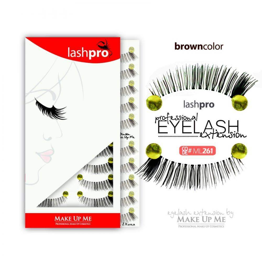 Купить Профессиональный набор коричневых ресниц 10 пар - Make Up Me LashPro ML261
