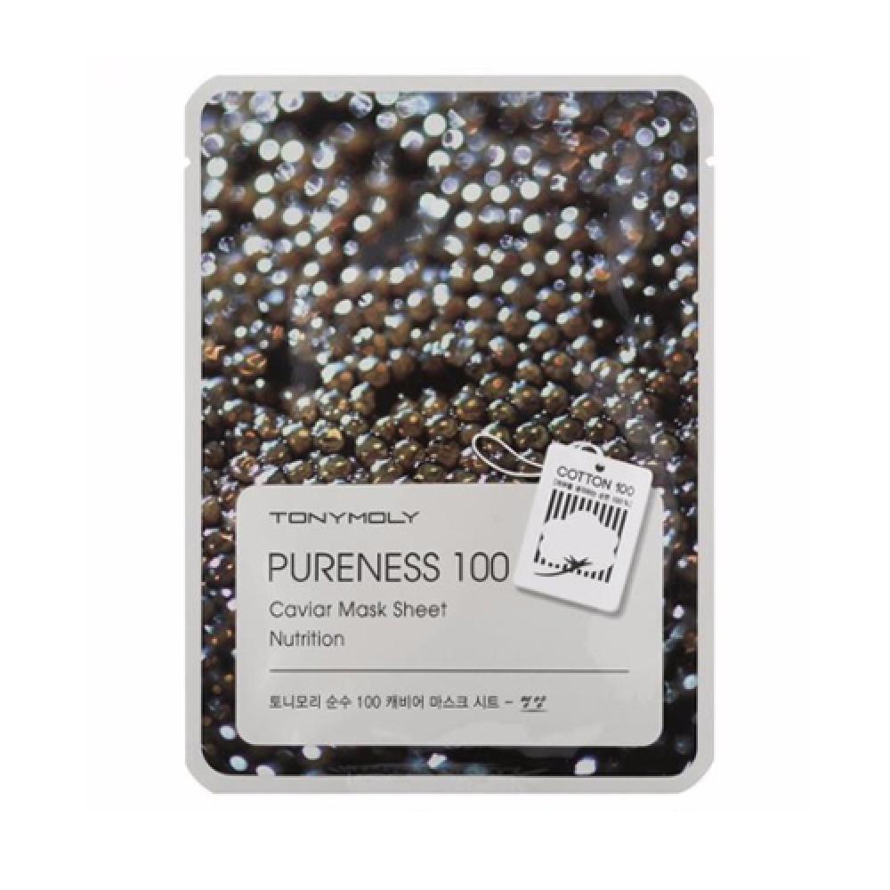 Купить Тканевая маска с экстрактом черной икры PURENESS 100 CAVIAR MASK SHEET-NUTRITION Tony Moly