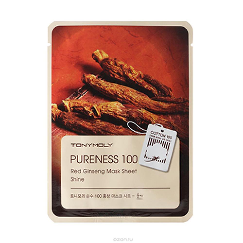 Купить Тканевая маска с экстрактом красного женьшеня PURENESS 100 RED GINSENG MASK SHEET Tony Moly
