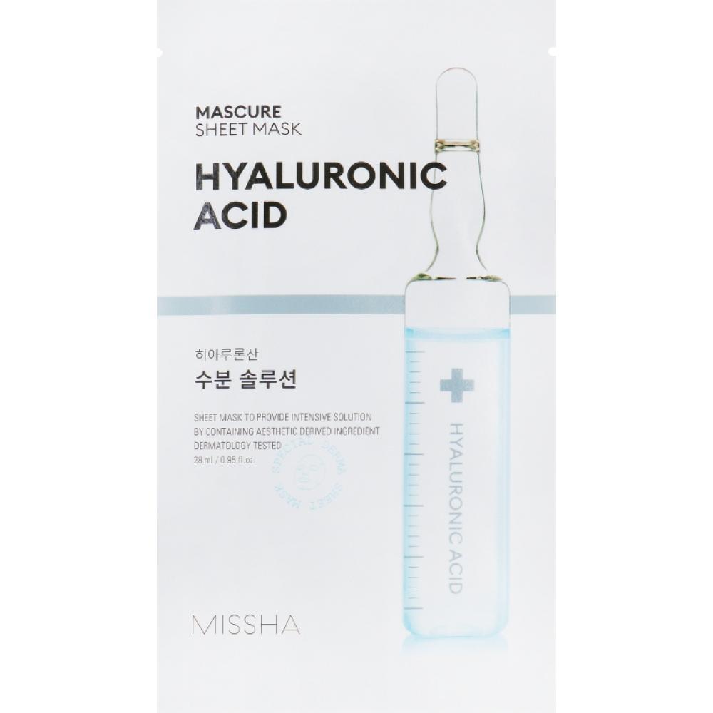Купить Тканевая маска увлажняющая с гиалуроновой кислотой Missha Mascure Hydra solution sheetmask