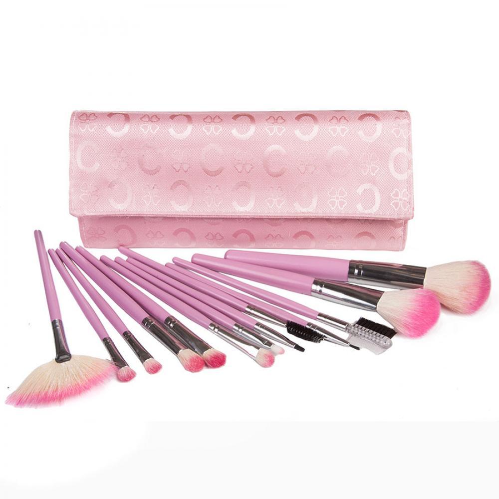 Купить Набор натуральных кистей для макияжа 13 шт - Make Up Me B-13 Розовый