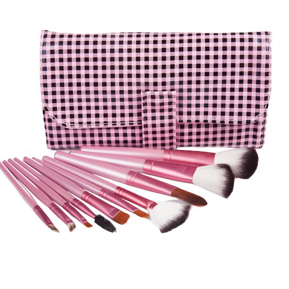 Купить Набор кистей для макияжа 10 шт - Make Up Me KH-10 Клетка