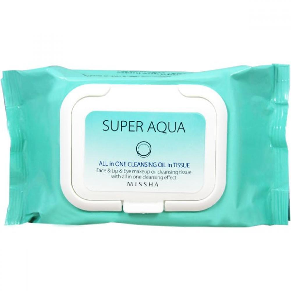 Купить Очищающие салфетки с маслами - Missha Super Aqua Perfect Cleansing Oil In Tissue