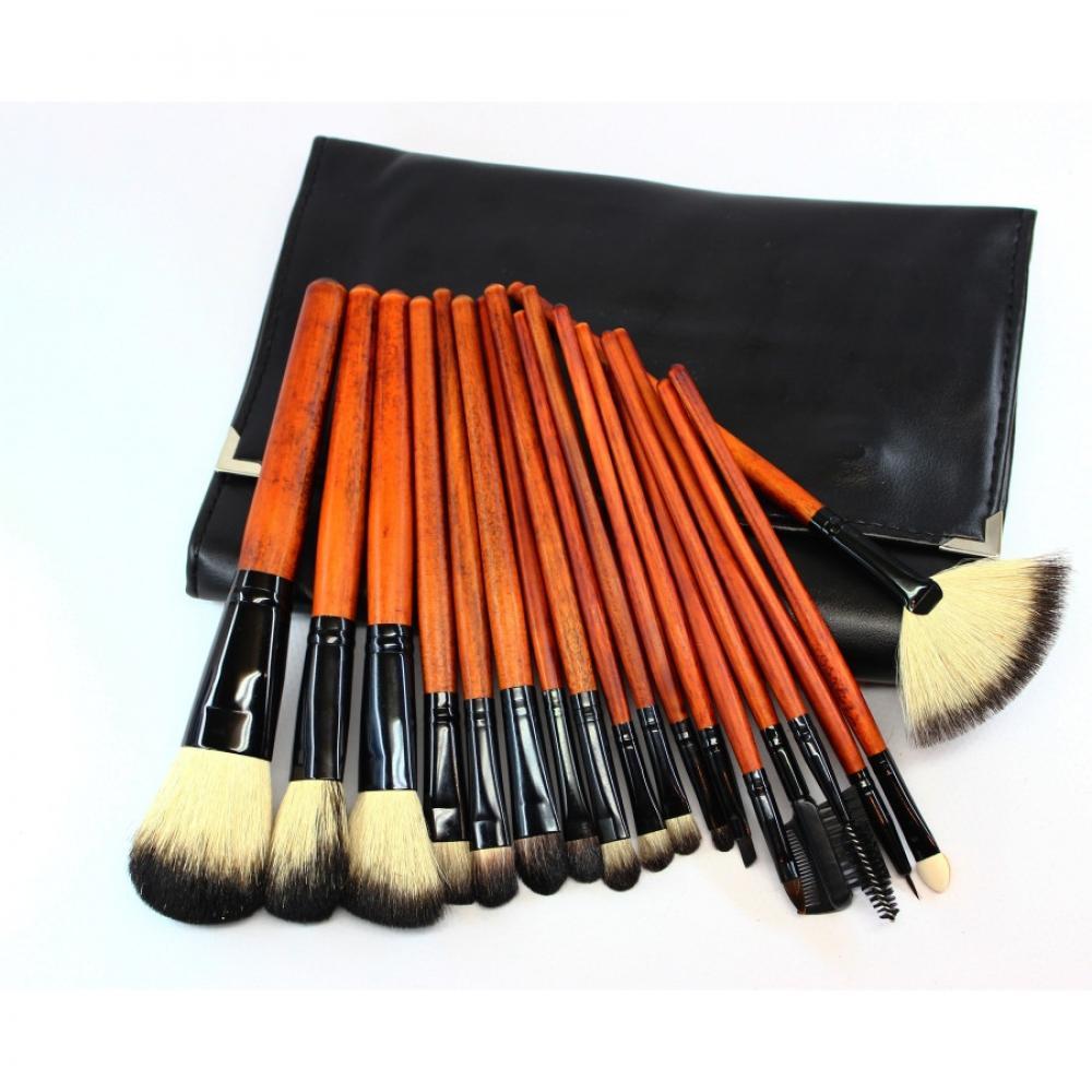 Купить Набор натуральных кистей для макияжа 18 шт - Make Up Me YG-18 Черный