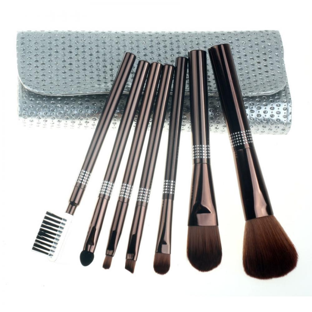 Купить Набор кистей для макияжа 7 шт - Make Up Me SIL-GL-7 Серебро Камни