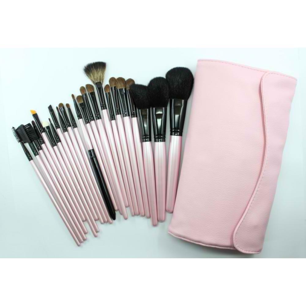 Купить Набор натуральных кистей для макияжа 23 шт - Make Up Me B-23 Розовый