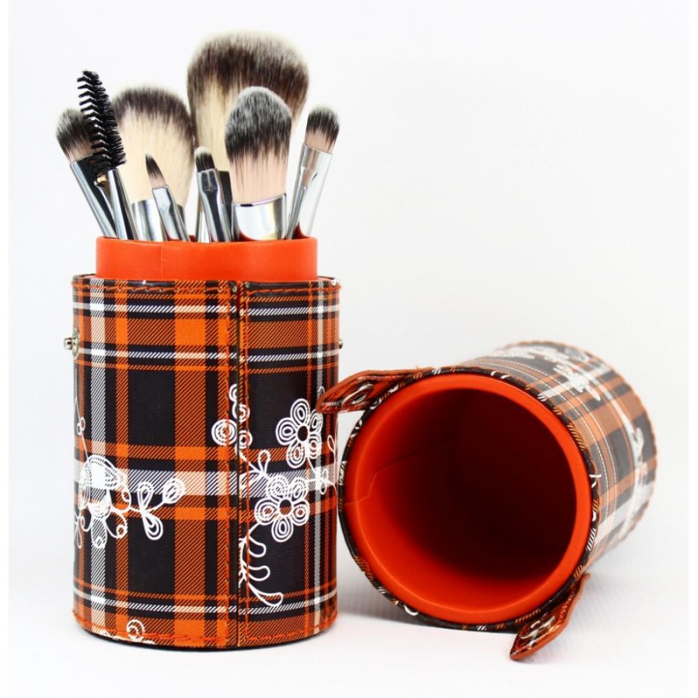 Купить Набор кистей для макияжа 8 шт - Make Up Me TUBE9-OR Оранжевая Клетка